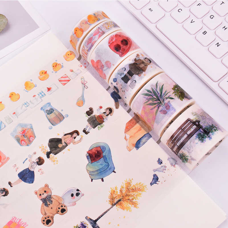1.5-4 cm cartoon dagelijks leven washi tape DIY decoratie scrapbooking planner masking tape plakband label sticker briefpapier