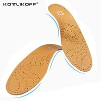 Leather Latex Orthopedic Foot Care Insole Antibacterial Active Carbon Orthotic Arch Support Instep Cowskin Flat Foot