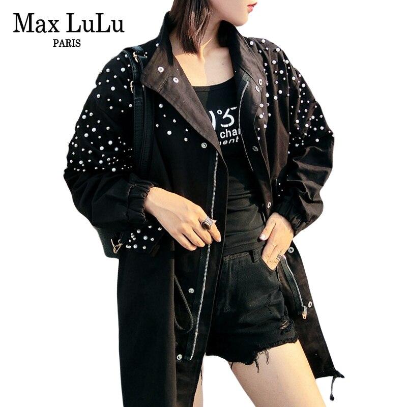 Max LuLu 2018 Autumn Luxury Korean Style Girls Punk Streetwear Pearl Womens Denim   Trench   Coats Vintage Woman Windbreaker Clothes