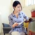 Блузка 2015 осень корейской свободного покроя эластичный пояс 100% хлопок платья рубашки с длинными рукавами дельфин печать женщины топы