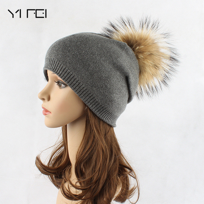 YIFEI Keep Warm Winter Hat Beanies Fur Wool pure color Knitted Hat The Female Of The Mink Caps Beanies Hat For Women Girl 'S Cap the new children s cubs hat qiu dong with cartoon animals knitting wool cap and pile