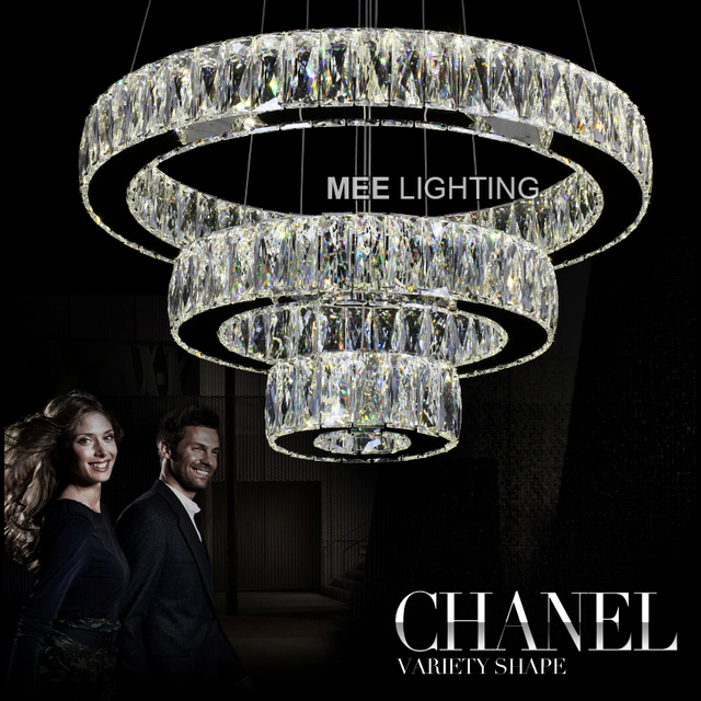 MEELIGHTING K9 Crystal Pendant Light LED Diamond Ring Hanging Pendant Lamp Lustre