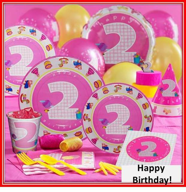 Free Shipping Pink Birthday Party Decorations For 2 Years Girl