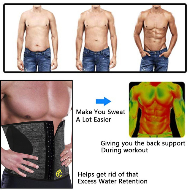 NINGMI Man Shaper Waist Trainer for Men Neoprene Hot Sweat Shirt Body Modeling Belt Weight Loss Slimming Underwear Corset Girdle 2