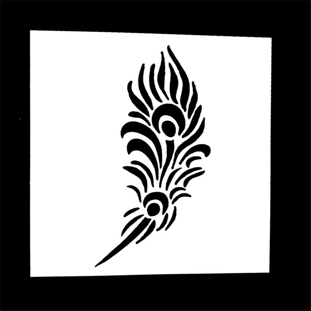 1PC Feather Shape Reusable Stencil Airbrush Painting Art DIY Home Decor Scrapbooking Album Craft