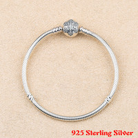 Genuine 925 Sterling Silver Snowflake Charm Pan Bracelet Bangle For Women Fit Diy Charm Bead Authentic