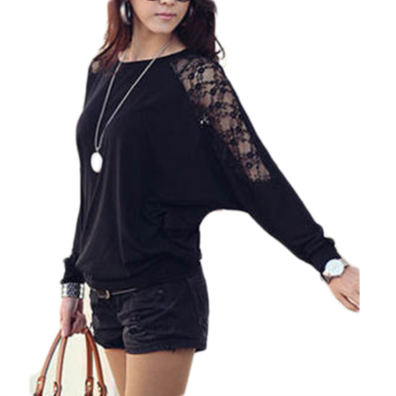 HOT Fashion Women Ladies Autumn Clothes Loose Long Batwing Sleeve Blouses Lace Patchwork Hollow Casual Shirts Blouses Tops