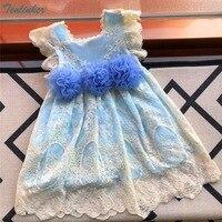 Tonlinker Dziewczyny Floral Lace Princess Dress Dziewczynek Chrzciny Suknia Ślubna Sukienka Kids Party Ubrania Meninas Vestidos 2018