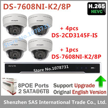 Video Surveillance Hikvision DS-7608NI-K2/8P Network Video Recorder Play For H.265 + 4pcs Hikvision DS-2CD3145F-IS 4MP IP Camera