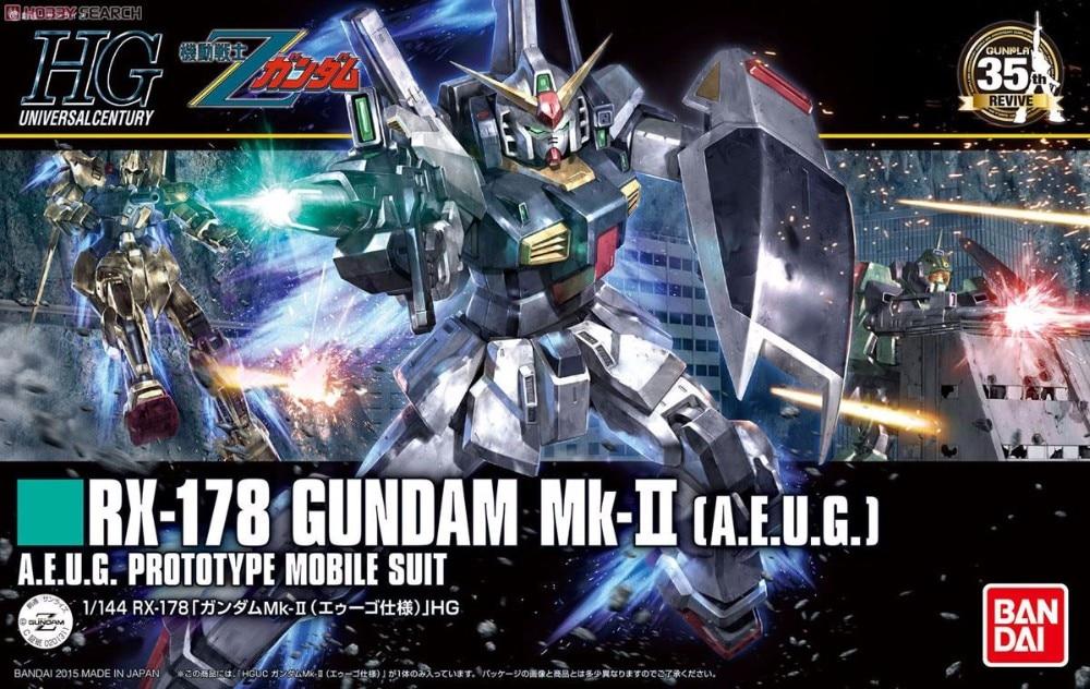 1PCS Bandai HGUC 193 1/144 RX-178 GUNDAM Mk-II  Mobile Suit Assembly Model Kits lbx toys Anime action figure TOYS Gunpla 35150 american blue wave mk ii assemble model boat 1 35