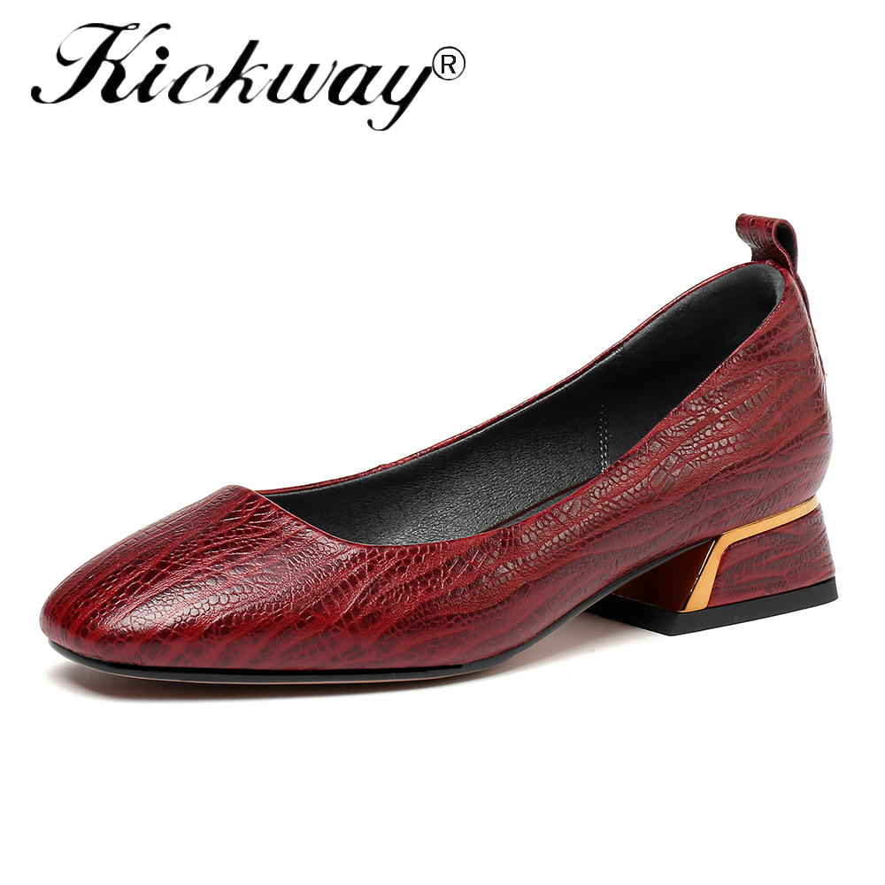 Kickway 2018 Autumn Shoes Woman Slip On Genuine Cow Leather Brand Design Casual Women Brogue Shoes Platform Creeper size 34-42 high quality women oxfords platform shoes patent leather tassel slip on pointed creeper lace up brogue loafers brand size 34 43