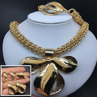 F&Y Bridal Dubai Gold Jewelry Sets for Women Fashion Pendant Necklace Earrings Ring Bracelet African big jewelry sets
