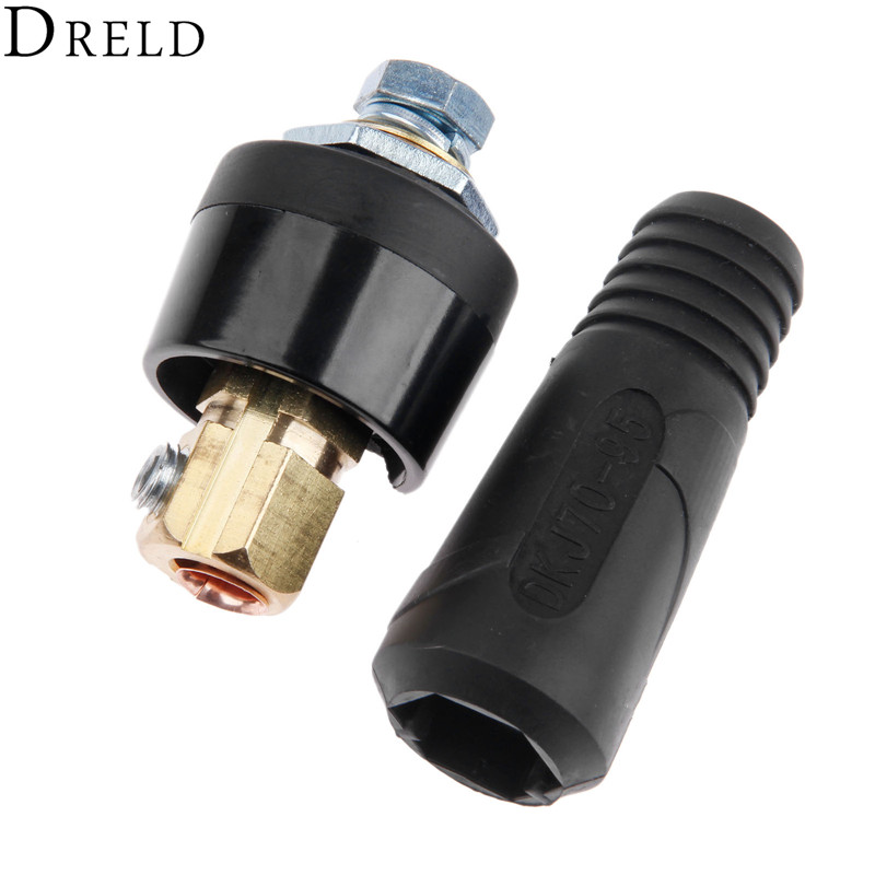 DRELD 2pcs/set Quick Fitting DKJ70-95 400A-500A Cable Connector-Plug with DKZ70-95 Connector-Socket for TIG Welding Machine