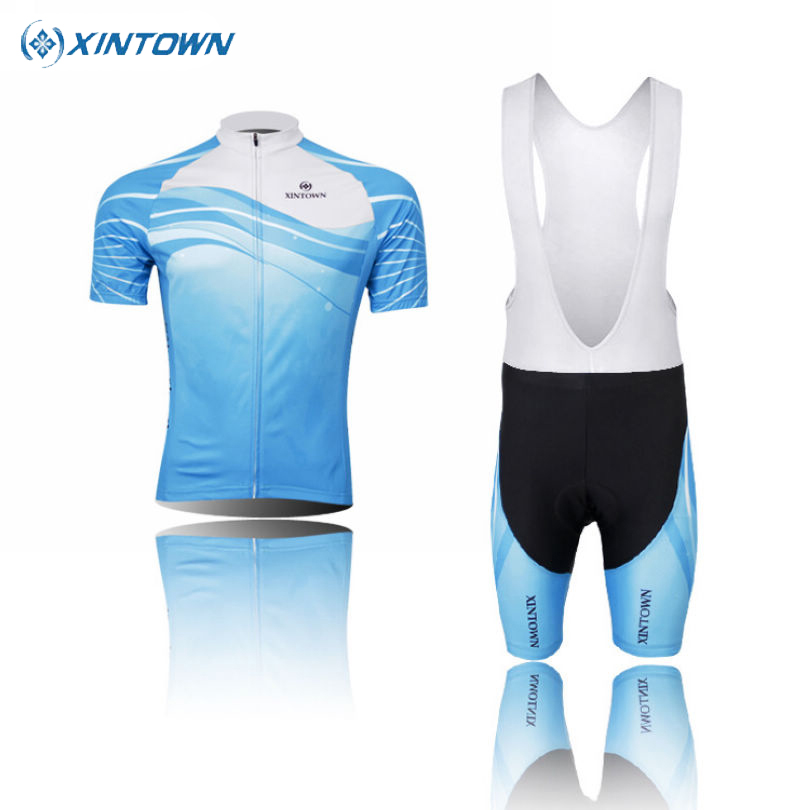 XINTOWN Blue Men Cycling Jersey  Bicycle Bib Shorts Cycle Ropa Ciclismo Short Sleeves Shirt Bike Sport Jersey|shirt men|jersey sweatshirt|jersey marseille - title=