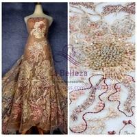 La Belleza 2018 New mixed colours heavy beading on white net wedding dress/fashion show/evening dress lace fabric BSN1801WT