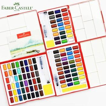 Faber Castell одноцветное набор акварельных красок 24/36/48 Блестящий Цвета Travel Kit и воды щетка губка Рисование Искусство школьный поставщик
