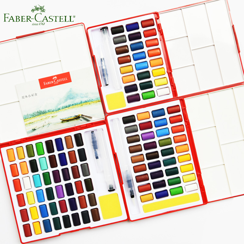 все цены на Faber Castell Solid Watercolor Paint set 24/36/48 Brilliant Colors Travel Kit and Water Brush Sponge Drawing Art School Supplier