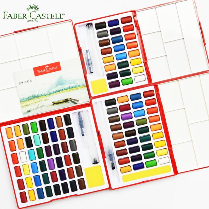 Faber Castell ensemble de peinture aquarelle solide 24/36/48 couleurs brillantes Kit de voyage et brosse à eau éponge dessin école d'art fournisseur