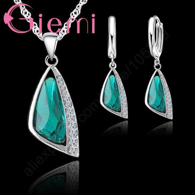 Baik 925 Sterling Silver Gaya Menawan Perhiasan Set Rantai Kerah untuk Wanita Geometris Anting-Anting Kalung Liontin Kristal Hadiah