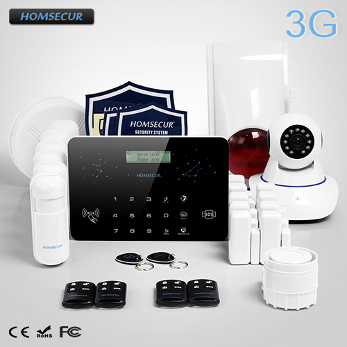 HOMSECUR Wireless Wired LCD 3G GSM PSTN SMS Autodial Home font b Alarm b font System