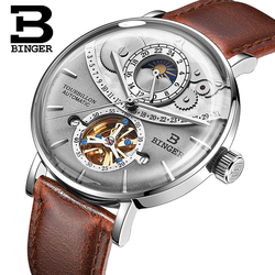 Genuine Luxury BINGER Brand Men watch steel leather strap automatic mechanical male moon phase waterproof cruve surface big dial