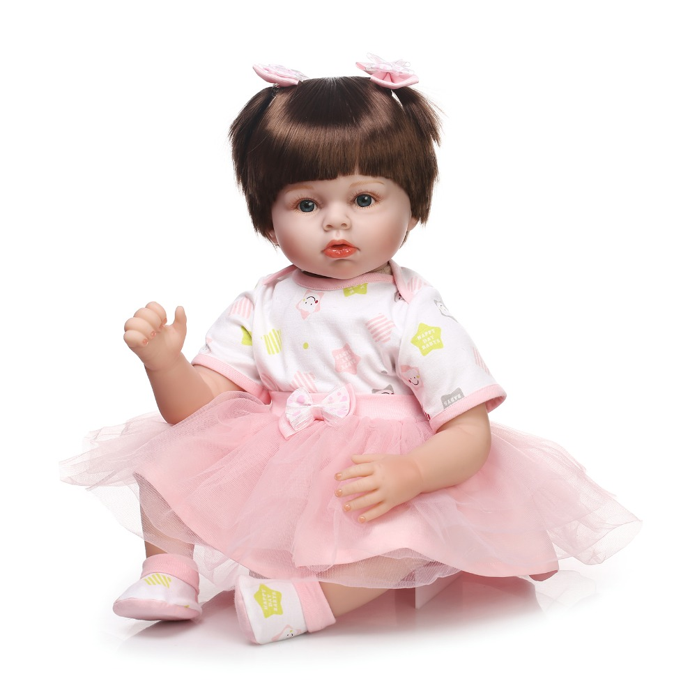 22 real baby dolls for girls real soft touch silicone reborn dolls pink dress smooth hair best gift for kids bonecas22 real baby dolls for girls real soft touch silicone reborn dolls pink dress smooth hair best gift for kids bonecas