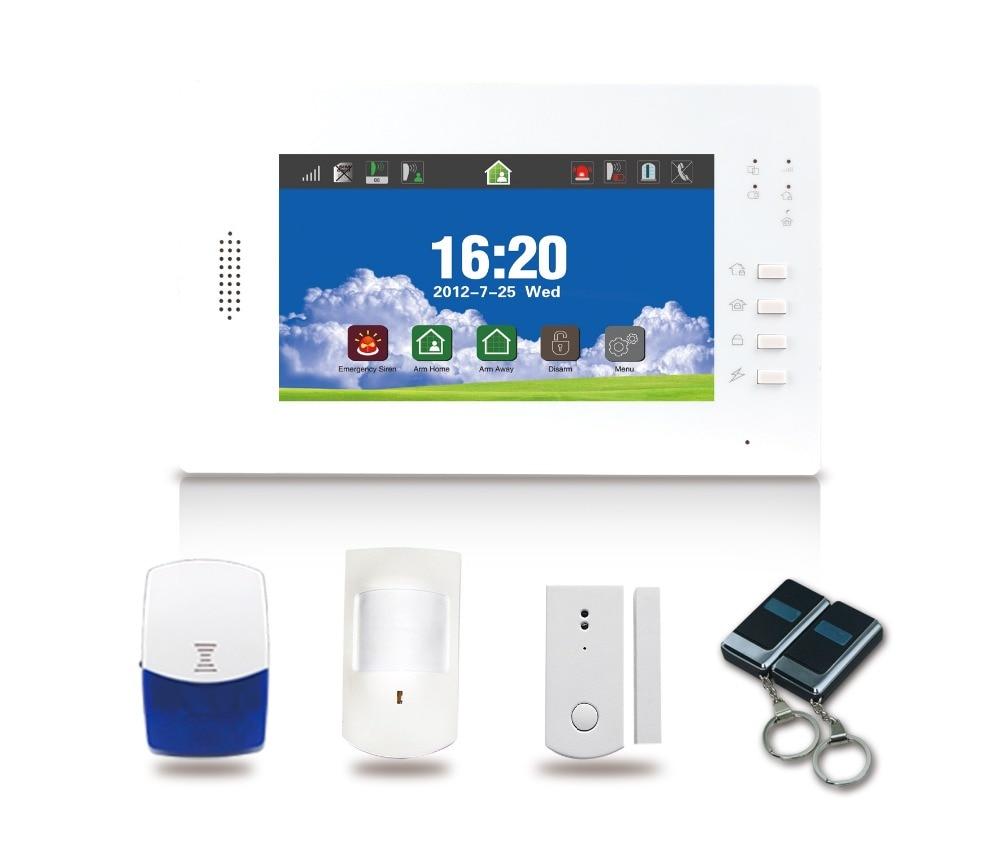 signal 868 mhz Groben Farbbildschirm 7 zoll GSM Hause Alarmanlage mit wireless smart-buchse