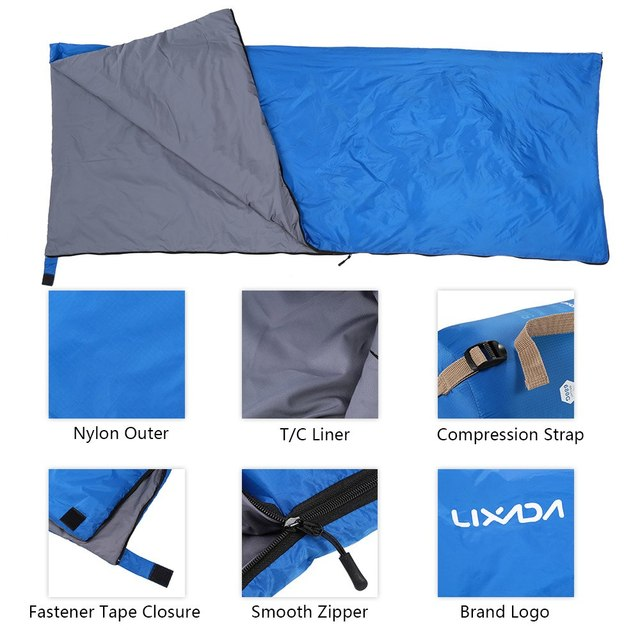 Lixada 190 * 75cm Outdoor Camping Bag Hiking Sleeping Bag Multifunctional Ultra-light Envelope Hooded Sleeping Bed Lazy Bag 6