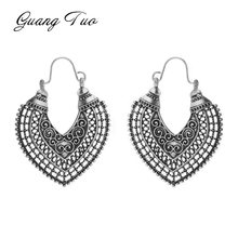 ES857 Heart-shaped Carved Hollow Earrings For Women Vintage Ethnic Style Earrings Personality Charm Jewelry Anniversary Gift(China)