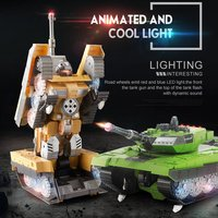 2.4G Remote Control Tank Simulation Heroicty Land Battle Tank Model One Key Conversion Robot Automatic Vehicle Toys for Boy Gift