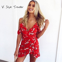 Casual Floral Print Playsuit Drapped Off Shoulder Sexy Bodysuit Women Shorts Ruffles Boho Jumpsuit Vestido Summer