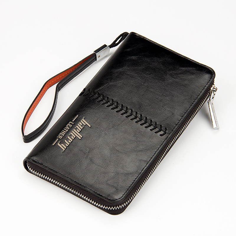 Luxury Brand Men Wallets High Capacity Clutch Bag Oil Wax Leather Men Clutch Wallet Coin Purse