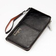 Luxury Brand Men Wallets High Capacity Clutch Bag Oil Wax Leather Men Clutch Wallet Coin Purse Male Wrist Strap Wallet Bag