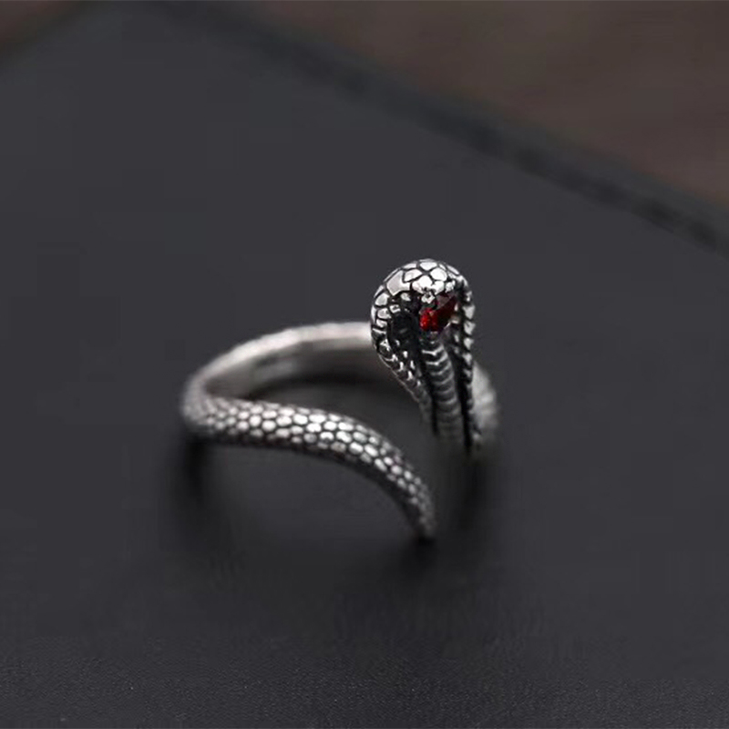 SOQMO Solid 925 Silver Snake Opening Tail Little Finger Ring Female Male Vintage Retro Women 925 Sterling Jewelry anel masculino