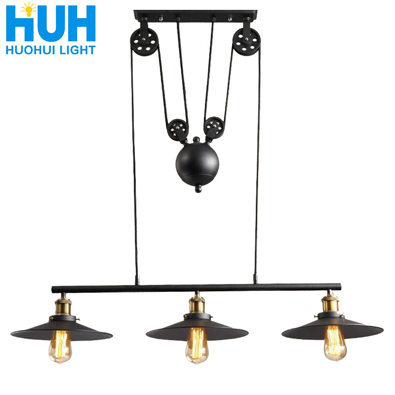Loft Vintage Pendant Lights 3 Head Iron Pulley Dish Lamp E27 110-240V Bar Kitchen Home Decoration Edison Light Fixtures Lighting
