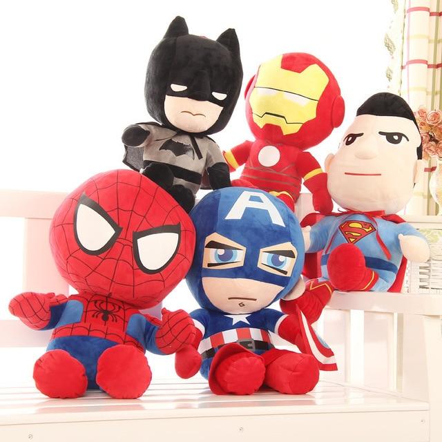 Os Vingadores Super Herói Brinquedos De Pelúcia Boneca Do Homem Aranha Homem De Ferro Capitão América Superman Batman Brinquedos de Pelúcia Presentes de Pelúcia Macia
