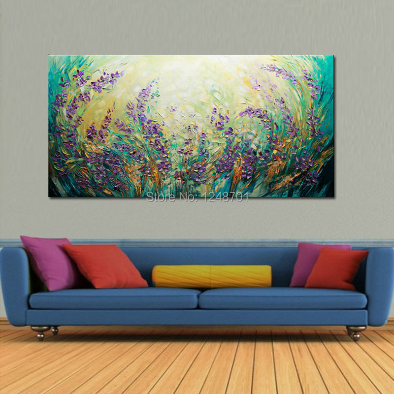 Purple LARGE Landscape Scenic Flowers Abstract Oil Painting Contemporary Modern Textured Palette font b Knife b