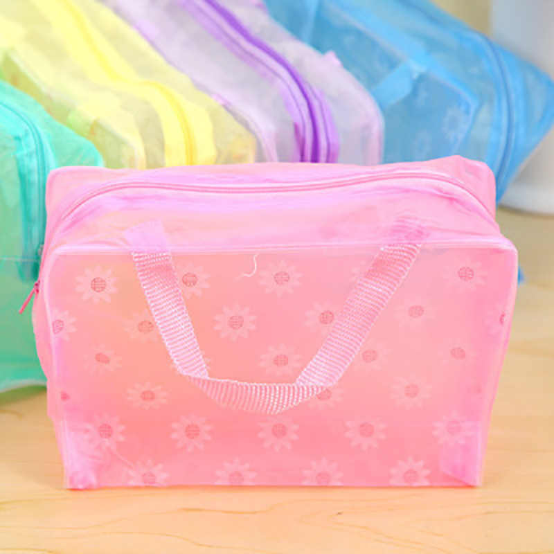Fashion Makeup Bag PVC Floral Transparent Cosmetic Bag Toiletry Wash Make Up Bag Pouch Travel Necessarie Organizer Bag