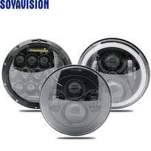 """สำหรับLada Niva 4X4 Suzuki Samurai 7 """"LED DRL H4 Haloไฟหน้าสำหรับVAZ 2101 7นิ้วLEDไฟหน้าHaloแหวนAmberเลี้ยวสัญญาณ"""