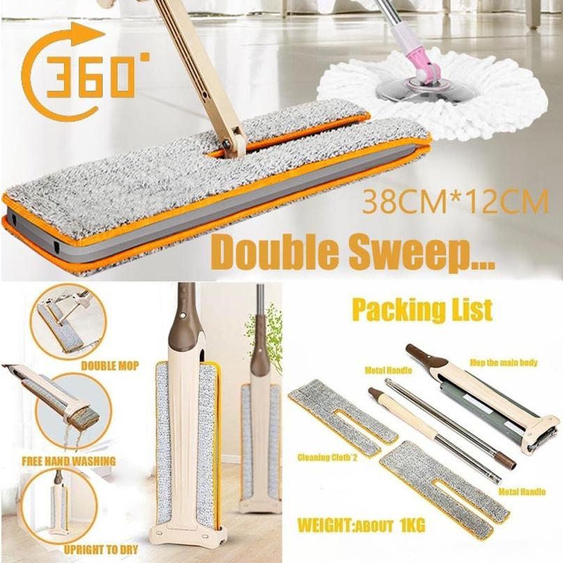 Multifunction Double Sided Non Hand Washing Flat Mop Wooden Floor Mop Dust Push Mop Home Cleaning
