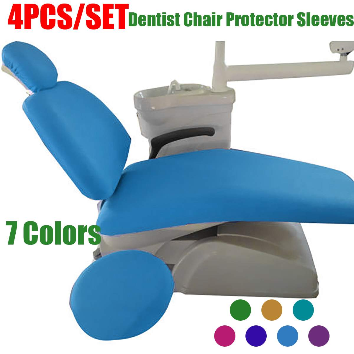 7 Colors 4pcs/set Elastic Fabric Dental Chair Cover Unit Washable Dustproof Dentist Stool Seat Backrest Pillow Cover Protector