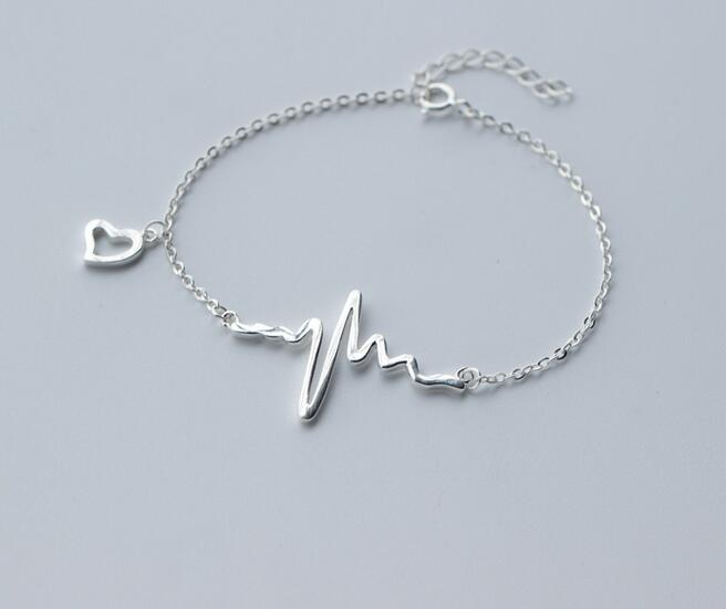 1 Stück 925 Sterling-silber Klaren Weißen Cz Aaa + Herz Lebensader Puls Heartbead Kette Armband 925-sterling-silver Einstellbare Ls240