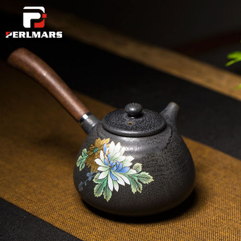 260ml Japanese Ceramic Teapot Hand-painted Peony Golden Line Coarse Pottery Wooden Side Handle Kung Fu Tea Set Kettle Coffee Pot