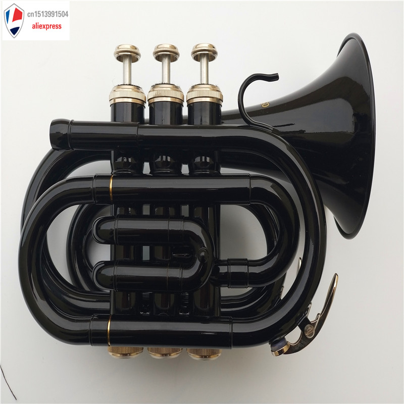 New Mendini MPT-BK Lacquer Brass Bb Pocket Trumpet, Black Bb Professional Trumpet Bell Top Musical Instruments Brass