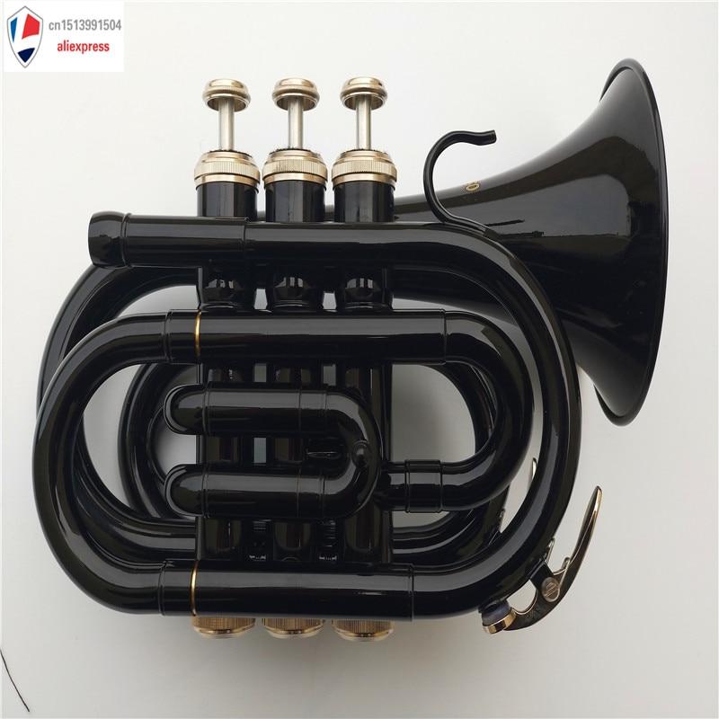 Nouveau Mendini MPT-BK en laiton laqué Bb trompette de poche, noir Bb professionnel trompette Top instruments de musique en laiton