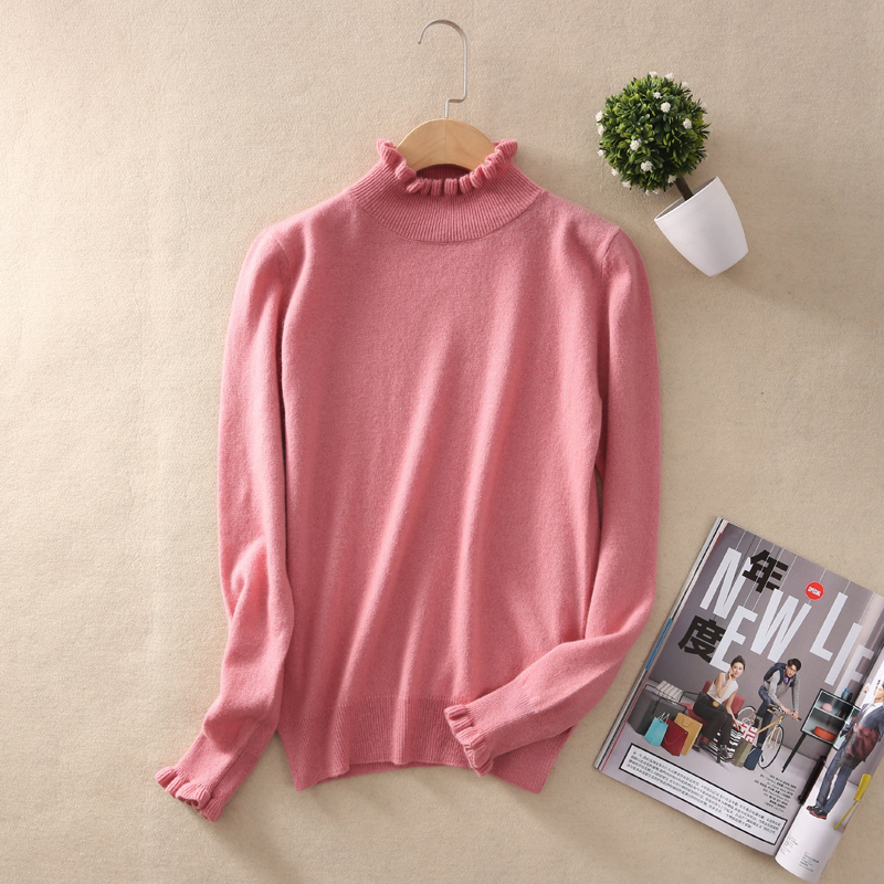 Autumn Winter Turtleneck Knitted Sweater Women Fashion Pullover Female Solid Color Slim Soft Warm Cashmere Sweater