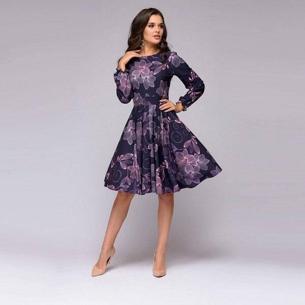 MOARCHO Women Floral Printing A Line Party Dress Ladies Lantern Sleeve O Neck Knee-Length Dress 2018 Autumn Elegant Women Dress