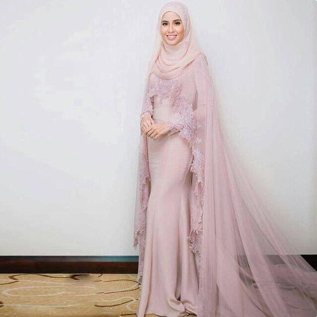 Abu Abu Pink Panjang Evening Dresses Hijab Saudi Arab Dengan Jubah