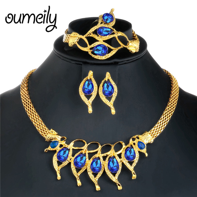 OUMEILY African Women Wedding Jewelry Sets Blue Rhinestone Elegant Dubai Gold Color Jewellery Costume Statement Necklace  sc 1 st  AliExpress.com & OUMEILY African Women Wedding Jewelry Sets Blue Rhinestone Elegant ...