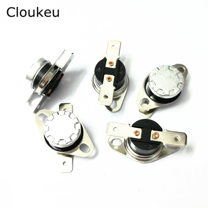 5Pcs KSD301 250V10A Temperature Switch Thermal control Normally Closed 40/45/50/55/60/65/70/75/80/85/90/95/100 Centigrade 250v 10a 40c 45 50 55 60 65 70 75 80 85 110c 135c degree ksd 9700 temperature controller switch thermal protector normally close